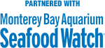 Logo that says Partnered with Monterey Bay Aquarium Seafood Watch